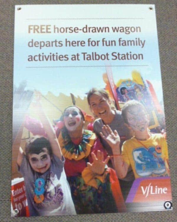 Vline Talbot Station Corflute Sign
